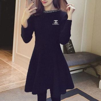 DCCK6HW Chanel' Women Temperament Fashion Simple Knit Bodycon Show Thin Long Sleeve Frills A Word Mini Dress