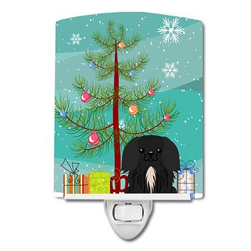 Merry Christmas Tree Pekingnese Black Ceramic Night Light BB4232CNL