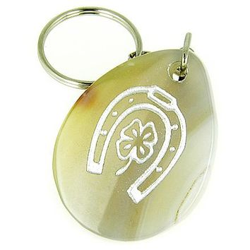 Lucky Horse Shoe And Clover Wish Stone Agate Gemstone Keychain