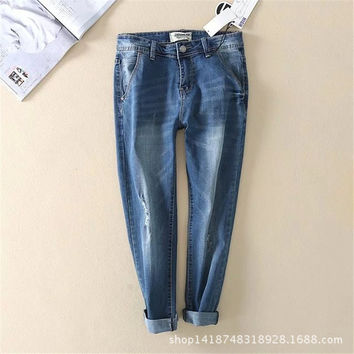 Summer Women's Fashion Blue Ripped Holes Denim Pants [4920276868]