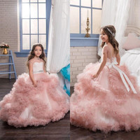 Luxury 2017 Blush Pink Ruffle Ball Gown Flower Girls Dresses For Weddings Short Sleeve Beaded Sash Pageant First Communion Dress
