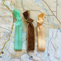 Gold Link Hair Tie Set | 3 Ties | Elastic | Soft & Stretchy
