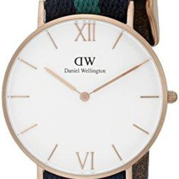 Daniel Wellington Unisex 0553DW Grace Warwick Rose Gold-Tone Stainless Steel Watch with Striped Nylon Band