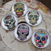 5 Sugar Skull glass cabochons 20 mm jewelry charm