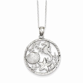 Sterling Silver Seahorse, Starfish And Shell Pendant, Best Quality Free Gift Box Satisfaction Guaranteed