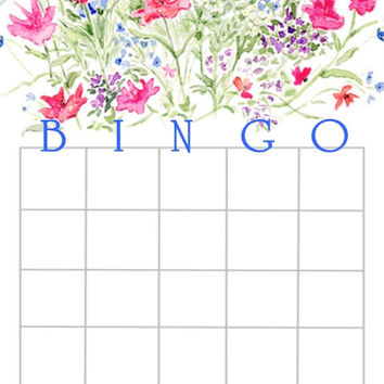 Floral Watercolor Bridal Shower Bingo Cards