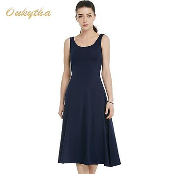 OukythaSummer Dress 2017 Korean Fashion Slim Woman Dress Sexy High Waist Sleeveless Vintage Dress Casual Cotton Long DressQ16187