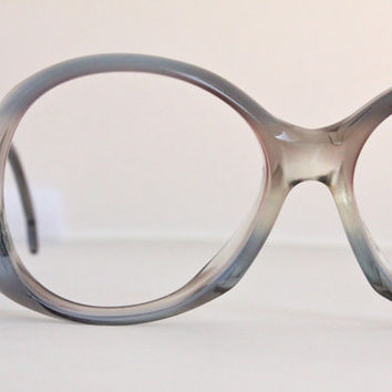 Vintage 70's Blue Fade Oversized Drop Arm Eyeglasses Frames