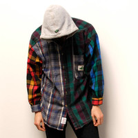 GRUNGE FLANNEL plaid patchwork HOODED unique button up shirt