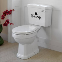 iPoop Toilet Tank Decal / Sticker Wall Mural Art Bathroom Apple Funny Joke
