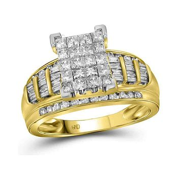 14kt Yellow Gold Women's Princess Diamond Cluster Bridal Wedding Engagement Ring 2.00 Cttw - FREE Shipping (US/CAN)