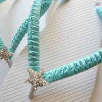 Beach wedding flip flops, bridal flip flops, Tiffany Blue flip flops with starfish flip flops, wedding shoes, bridesmaids flip flops