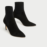 COMBINED HIGH HEEL SOCK-STYLE ANKLE BOOTS