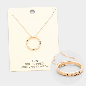 """""""Love"""" Gold Dipped Ring Pendant Necklace"""