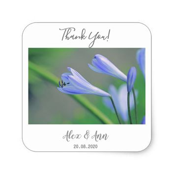Beautiful Blue Flowers Wedding Favor Sticker
