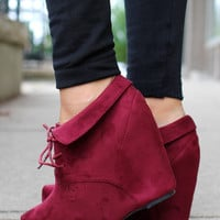 So Posh Wedge Bootie - Burgundy