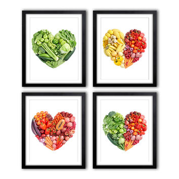 Set of 4 Kitchen Prints Kitchen Art Fruit Art Vegetable Art Still Life Apples, heart, vegetables, fruits *7*