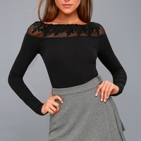 Admire Me Black Off-the-Shoulder Long Sleeve Top