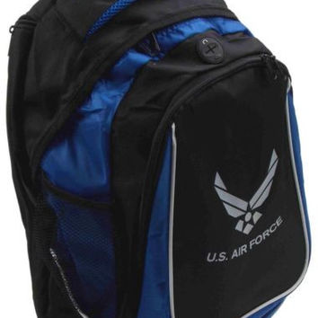 United States US Air Force Backpack Blue Black Zippered Padded Shoulder Straps