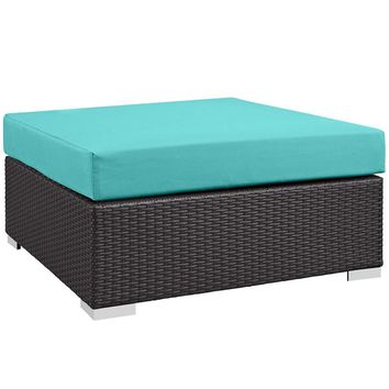 Turquoise Convene Outdoor Patio Large Square Ottoman