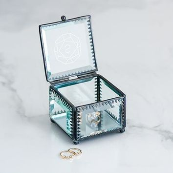 Vintage Inspired Glass Jewelry Box - Monogram Gem Etching (Pack of 1)
