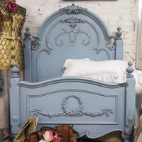 Painted Cottage Shabby Periwinkle Romance Bed by paintedcottages