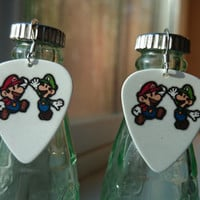 Super Mario Bros inspired guitar pick earrings: mario and Luigi