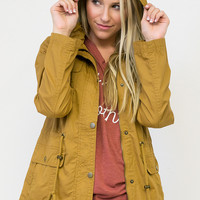 Humbly Hooded Cinch Waist Lined Jacket