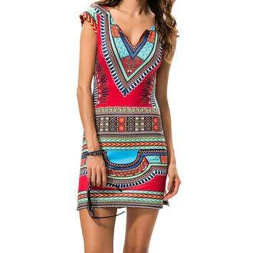 Short V-Neck Sexy African Dress Traditional Print