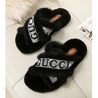"Hot Sale ""GUCCI"" Trending Women Stylish Diamond Fur Sandals Slippers Shoes Black"