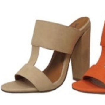 """Fay"" Double Strap Mule High Heel Sandals - Nude"