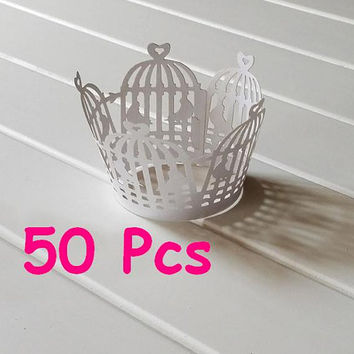 White bird cage wrapper white Stencil laser wrapper fancy Cupcake Wrappers Wedding cake wrapper lace wrapper for Christenings Baby Showers