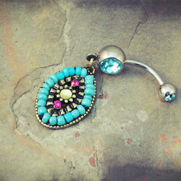 Southwestern Beaded Turquoise Belly Button Jewelry Ring