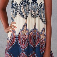Sugar Mountain White Black Blue Burgundy Wine Grey Beige Paisley Geometric Sleeveless Loose Mini Dress