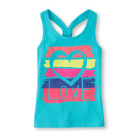 knotted racer-back graphic tank   US Store