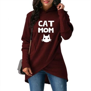 2018 Spring and Autumn Women's New Hoodie Fashion Women's Comfort Pullover Cat Mom Print Sweatshirt Top Hoodie Large Size Female