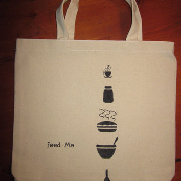 Hand Stamped Feed Me Cotton Canvas Shopping Bag