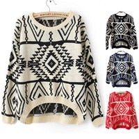 VINTAGE GEOMETRIC PATTERN KNITTED SWEATER -beige
