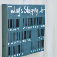 Wood Sign Typography Word Art  - Today's Shopping List with Bar Codes- Hand Painted Kitchen Wall Decor