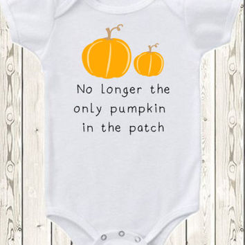 Halloween Pregnancy Announcement Idea for big brother big sister second child pregnancy reveal Pumpkin Patch Onesuit ®brand bodysuit or shirt