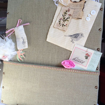 """In Stock Decorative Memory Board Frame Storage Board 11""""X9"""" Burlap Background Lace With Embellishment Keepsake Family Wedding Gift For Her"""