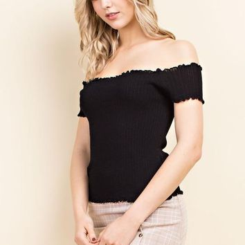 Knitted Off Shoulder Crop Top (multiple colors available)
