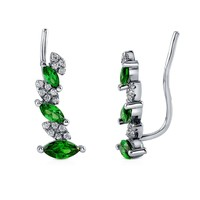 Sterling Silver Simulated Emerald Cubic Zirconia CZ Cuff EarringsBe the first to write a reviewSKU# E1020-01