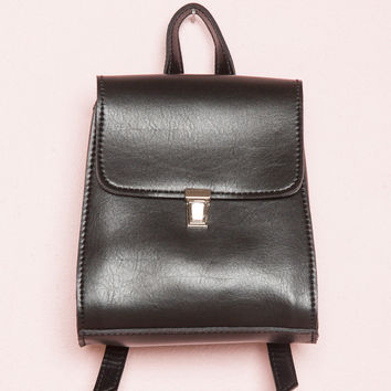 Silver Buckle Black Mini Backpack - Bags & Backpacks - Accessories