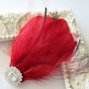 Bridal Wedding Great Gatsby Bridesmaid Feather Hair Accessory, Feather Fascinator, Bridal Hair Piece, Red Crimson  Hair Clip