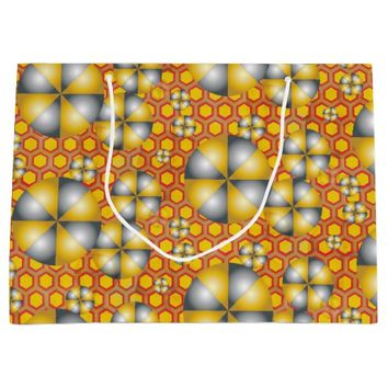 Circles Pattern on a Honeycomb Background Large Gift Bag