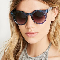Abstract Crackle Flat-Browline Sunglasses