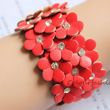 Wedding Gift, Red Flower leather cuff or for wristband watch, rhinestone bangle, Fashion coral, metal buckle, vegetable tanned leather B-1
