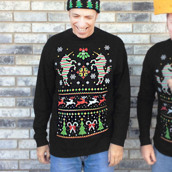 Unicorn Ugly Christmas Sweater Style Thermal Shirt