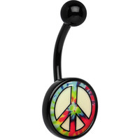 Glow in the Dark Titanium Tie Dyed Peace Sign Belly Ring